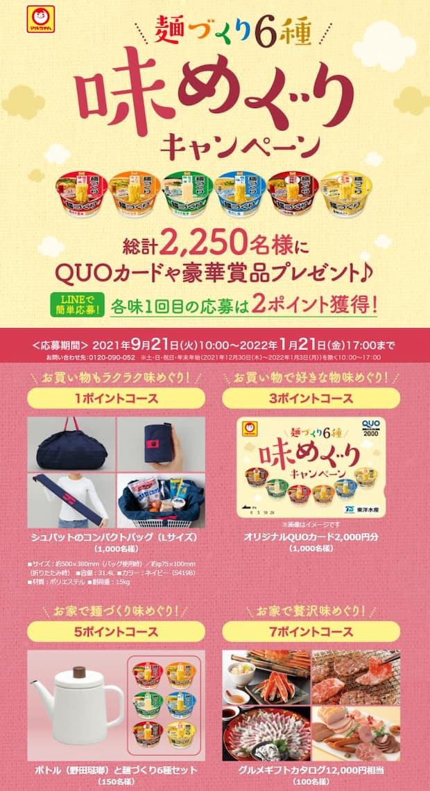 マルちゃん 麺づくり クローズド懸賞 懸賞 キャンペーン
